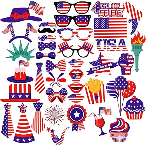 Unomor 4th of July Photo Booth Props for Independence Day Party Decorations - 40 Pieces