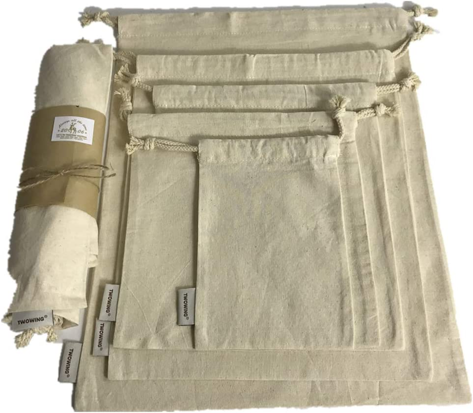 Organic Cotton Produce Bags, Large Reusable Canvas Muslin Storage and Organizing Drawstring Fabric Bag for Shopping, Laundry, Grocery, Vegetable, Gift & More, 5 Bulk Washable 11.5 x 13.5 Inch Cloth