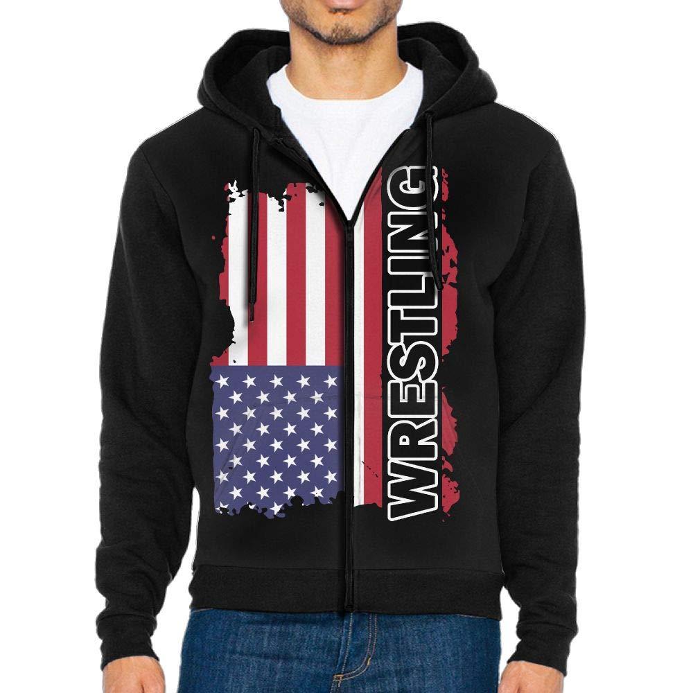 LD6DBGK USA Flag Wrestling-2 Men's Full Zip Hooded Fleece Shirts by LD6DBGK
