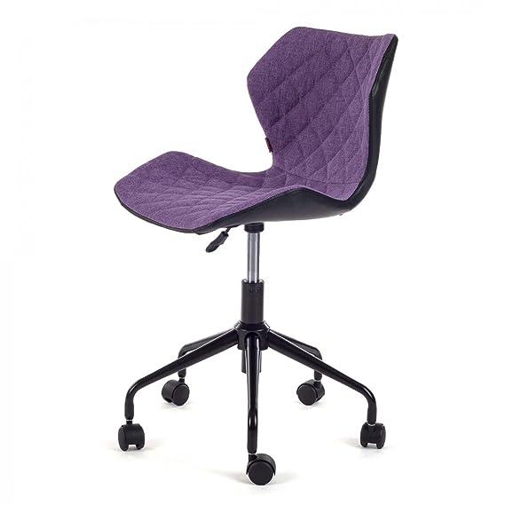 MY SIT Silla de Oficina giratoria Escritorio Taburete Altura Ajustable Cuero sintético sillón diseño Silla Nuevo INO Negro/Púrpura