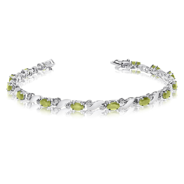 14k White Gold Peridot And Diamond Tennis Bracelet