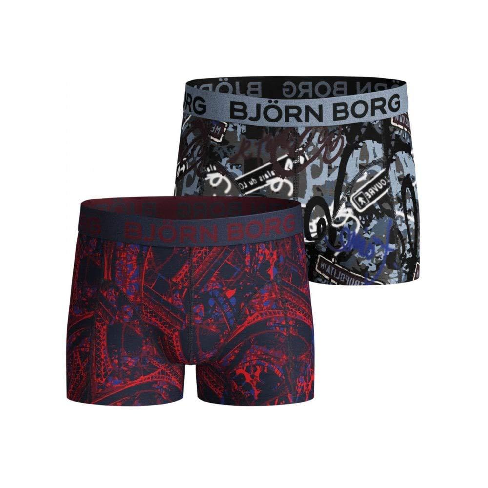 Bjorn Borg Boy's 2-Pack Tour Eiffel & Street Art Boys Boxer Trunks, Red/Blue Age 8-10 Red/Blue