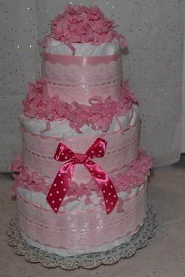 Amazon.com: Rosa 3 niveles de encaje tarta de pañales ...