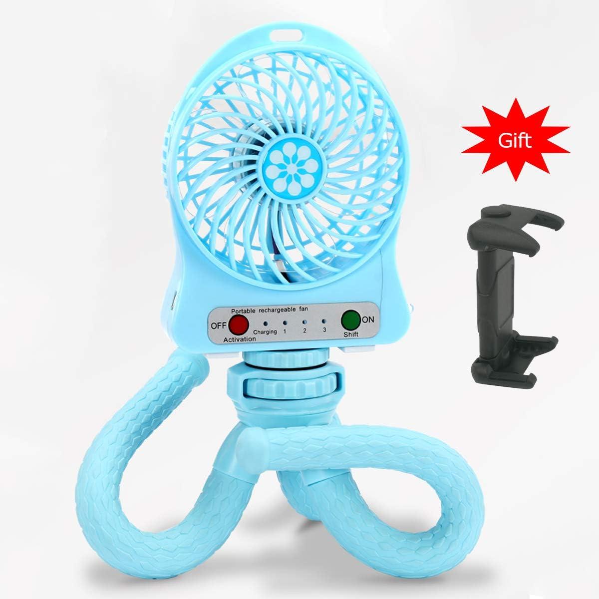 EILIKS Mini Handheld Stroller Fan, Portable Personal Baby Fan with Flexible Tripod Fix on Stroller Student Bed Bike, USB or Battery Powered Desk Fan Adjustable 3 Speeds for Camping Traveling Blue