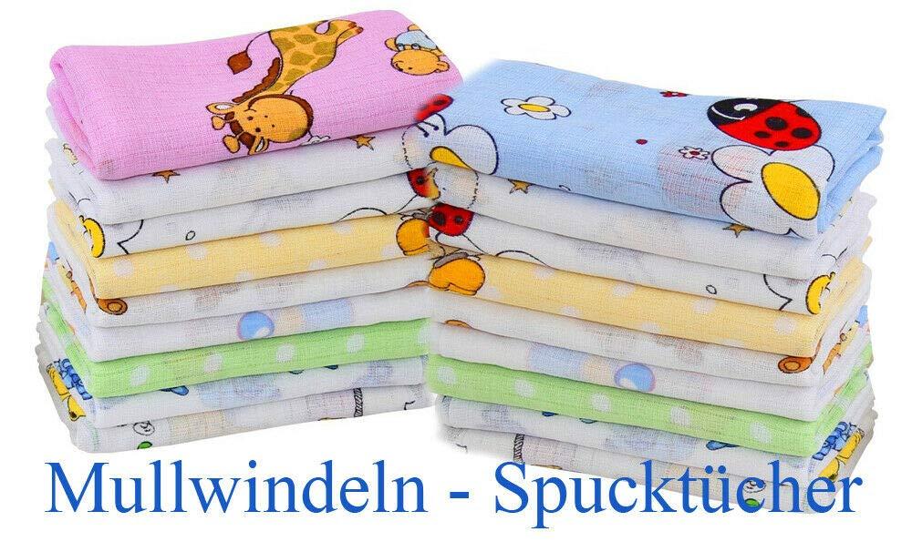 Jungen Farben 10er Set Mullwindeln Stoffwindeln Spuckt/ücher Baumwollwindeln 70x80 Babyt/ücher Spucktuch
