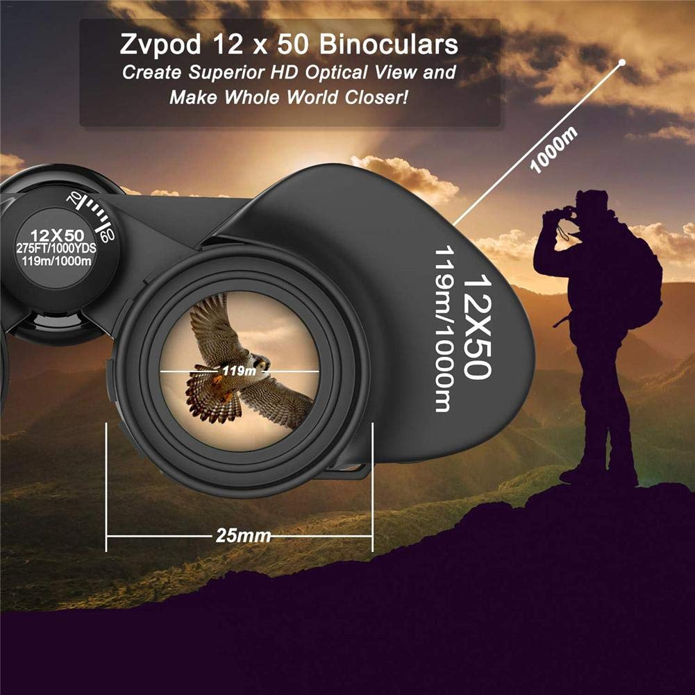 Shantan 12x50 Zoom Binoculars Night Vision Telescope,Compact Durable for Traveler Wide Field of View Great for Camping Concert Travelling Hunting