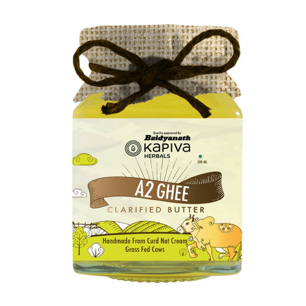 Cow Milk Ghee by Kapiva Herbal A2 Ayurvedic Ghee 100% Grass-Fed Cows Non-GMO Keto & Certified Paleo Diet Friendly (16.9 fl oz / 500 ml)