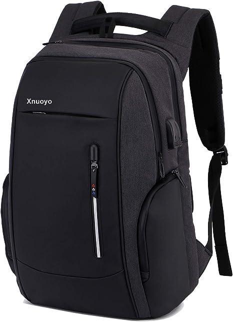Tagesrucksack mit USB Ladeanschluss Diebstahlsicherer Rucksack Reisetasche Funktions Daypack Laptop Rucksack 15,6 Zoll Schultasche f/ür Frauen M/änner Alle Schwarz
