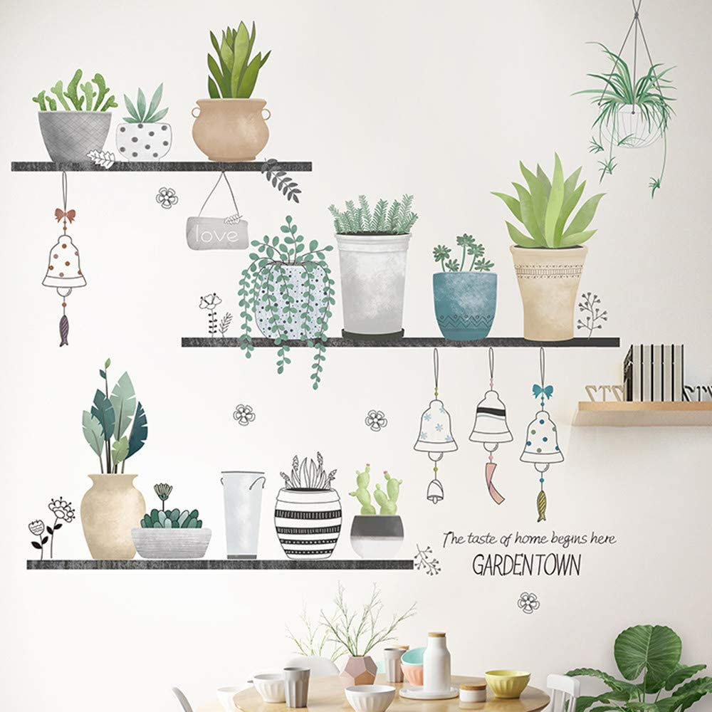 Wall Mural Decals for Living Room, Potted Plants Wall Stickers as Wall Decor for Bedroom | 90cm x 180cm Removable Stickers for Walls Decoration as Housewarming Birthday