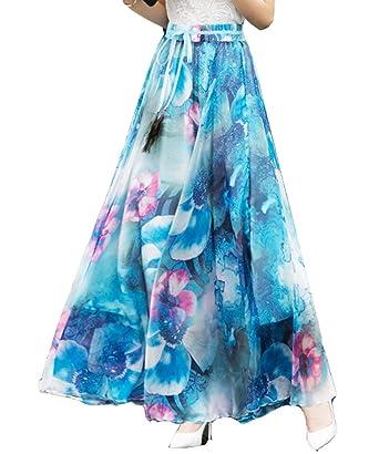 Maxi Falda De Las Mujeres Boho Vendaje Floral Faldas Bandeau Ropa ...