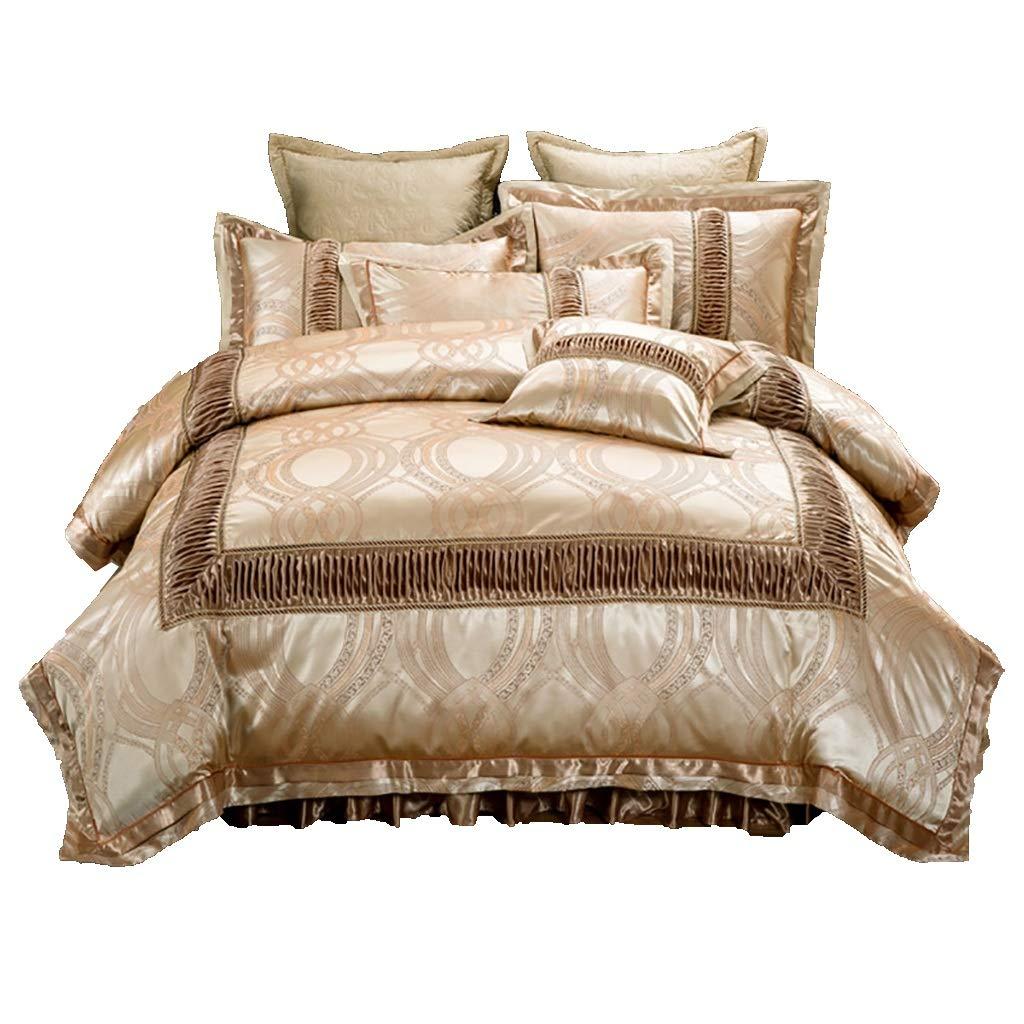 寝具カバーセット 4/6ピースセットベッドの上掛け布団カバーベッドスカート枕カバークッションカバー小さな枕布団カバーギフトベッドセット寝具ホテルファミリー (色 : 4 piece set, サイズ さいず : 1.8M bed(1)) B07MHLYDYY 4 piece set 1.8M bed(1)