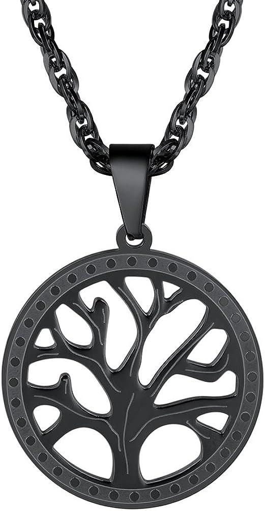 PROSTEEL Collar para Hombre Mujer Placa Hueca de Árbol de Vida 55cm+5cm Ajustable Acero Inoxidable Chapado en Oro 18k /en Metal Negro para Hombre Mujer, con Caja de Regalo