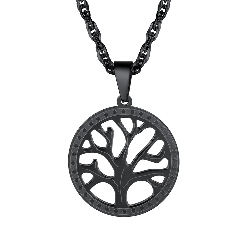 PROSTEEL Black Necklace,Tree of Life,Womens Jewelry,Gift for Men,Pendant Necklace,2018 New,Round Tree Pendant,Minimalist,PSP2947H