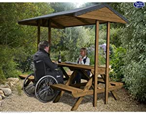 Dunster House Wooden Outdoor Picnic Table Bench Garden Furniture with Wheelchair Access with Canopy Roof Shelter