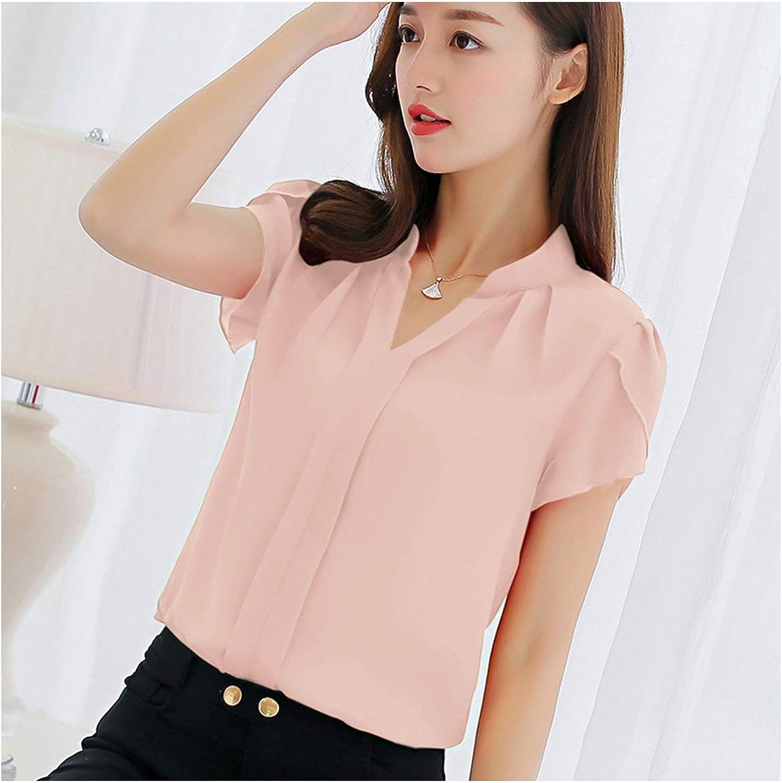 Blusa de gasa para mujer, de manga corta, color rojo, para oficina, para mujer, talla grande - Rosa - Large: Amazon.es: Ropa y accesorios