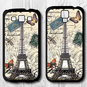 Eiffel Tower On Vintage Page Protective Cover Case For Samsung Galaxy S3 + Screen Protector + Earphone Anti Dust Plug + Retail Package