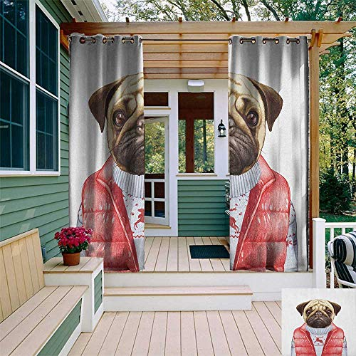 leinuoyi Pug, Outdoor Curtain Modern, Red Vest and Christmas Sweater on a Adorable Dog Hand Drawn Animal Fun Image, Fabric W72 x L108 Inch Pale Brown Red White