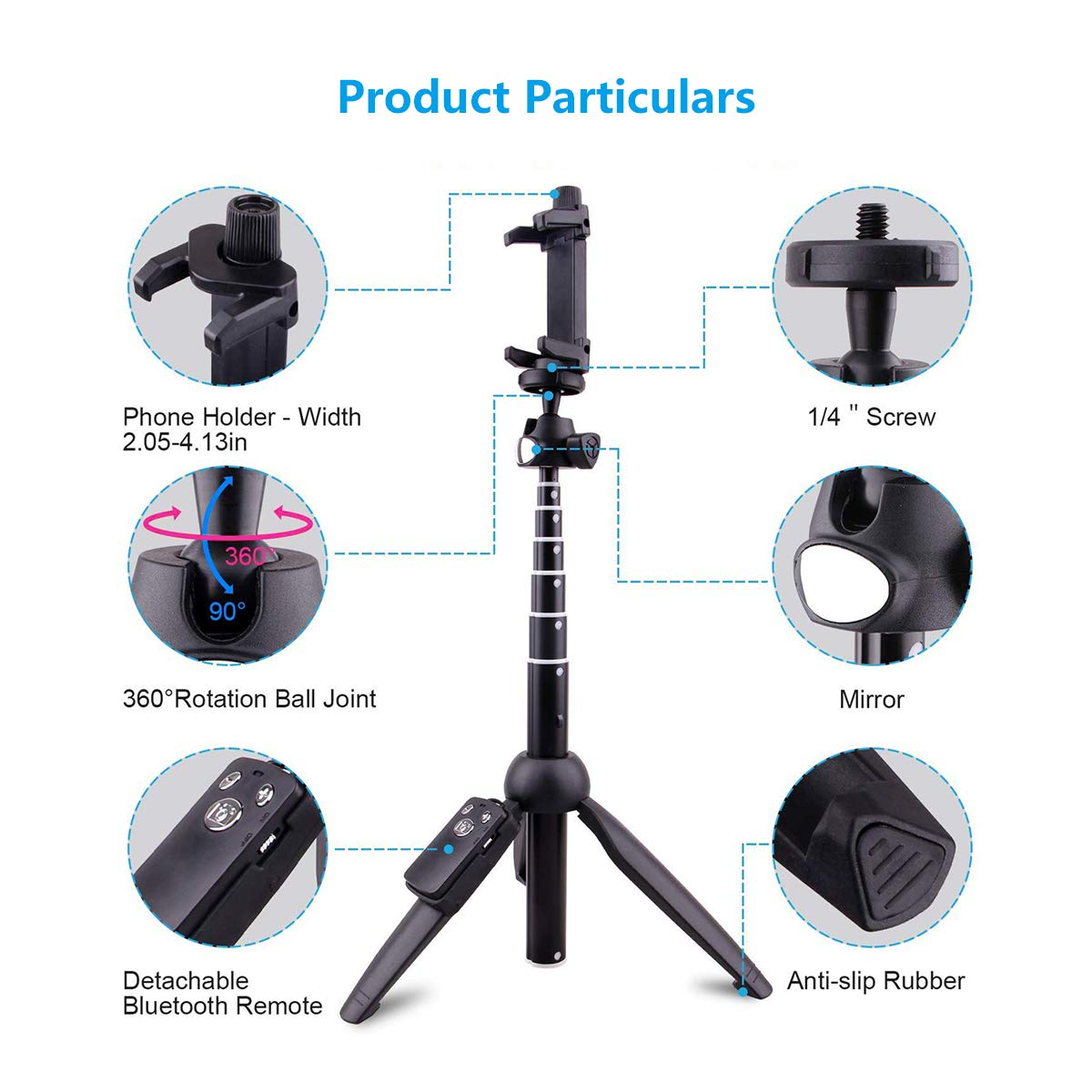 41cfe103ea6e37 Amazon.com: Selfie Stick Tripod Bluetooth Extendable Wired Self-Portrait  Handheld Monopod 360° Rotation Detachable Remote Control Compatible with  iPhone ...