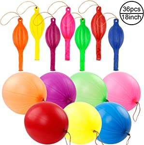 RUBFAC 36 Punch Balloons, Neon Punching Balloons with Rubber Band Handles, 18 Inch, Various Colors Punch Balls, Suitable for Gifts, Daily Games, Weddings