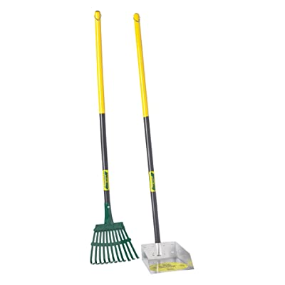 Flexrake 58W Small Scoop and Steel Rake Set with 36-Inch Cherry Stained Wood Handle : Garden & Outdoor