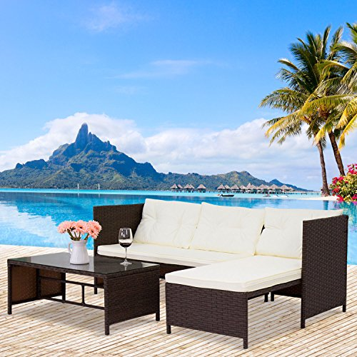 Cheap Peach Tree 3-Piece Outdoor Rattan Wicker Sofa and Chaise Lounge Set Mix Brown