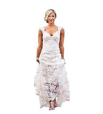 Isabelwedding Womens Straps Lace Applique Keyhole Back
