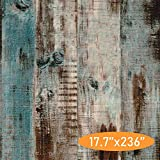 MulYeeh Vintage Peel and Stick Wallpaper, 17.7'' x 236'' Self-Adhesive Removable Wood Plank Faux Wooden Wallpaper Removable Wall Covering Prepasted Decorative