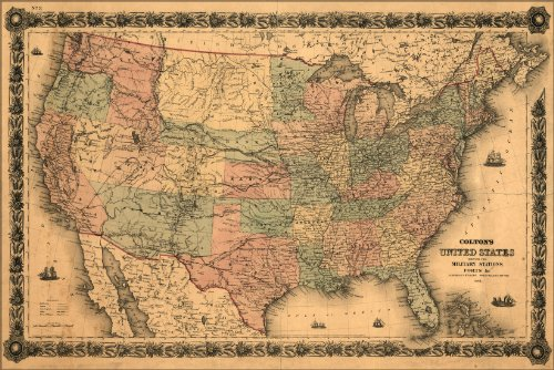 24x36 Poster; Map United States Of America Military Forts 1861; Antique Reprint (Old United States Map compare prices)