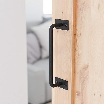 smartstandard 8 5 8\u201d barn door handle black flush square base round handle pull for cabinet door handle