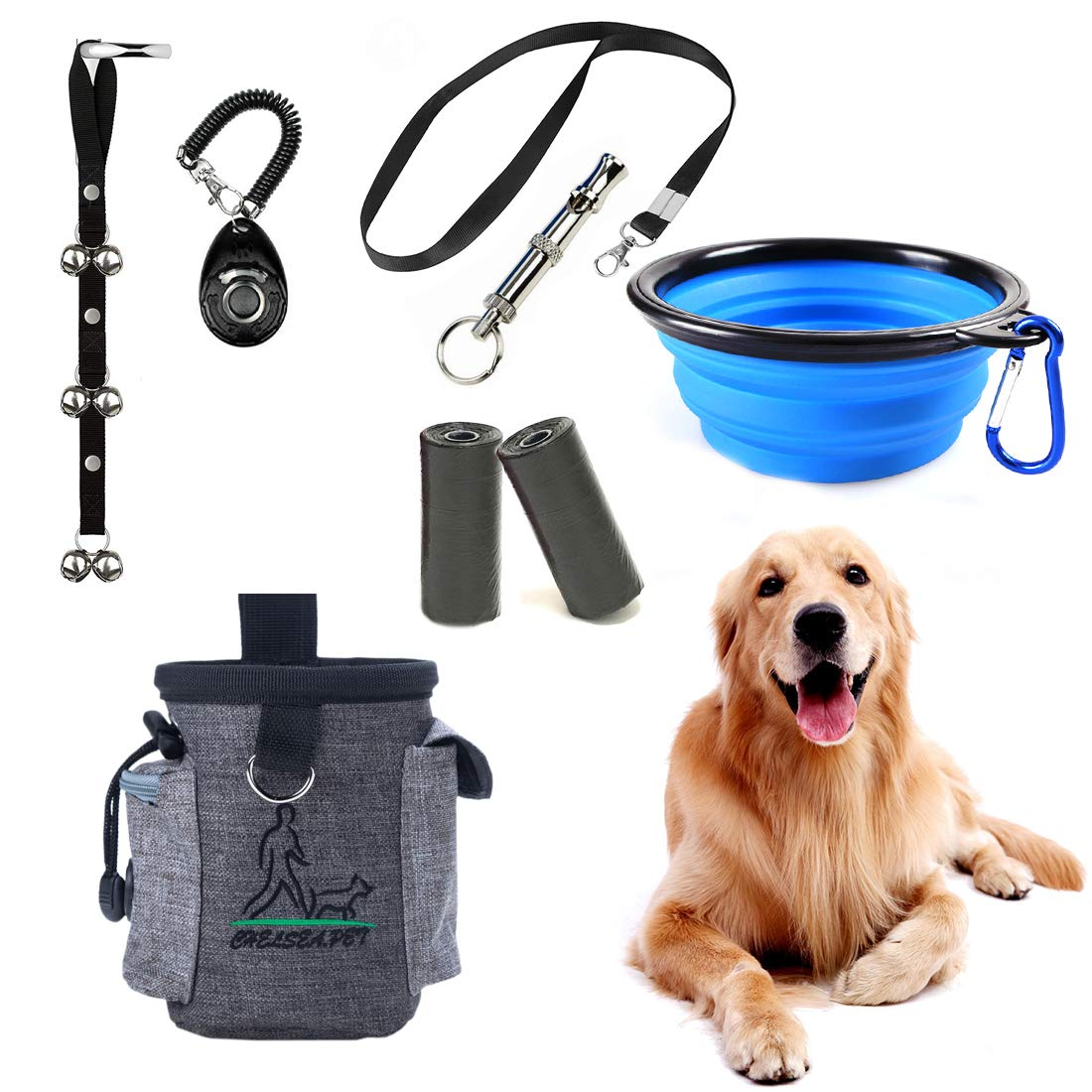 SSRIVER Puppy Training Kit 6 Pcs Adjustable Puppy Doorbells for Dogs Training Bag Whistle to Control Stop Barking Dog Bowl and Poop Bag Pet Trainer Dog Training Set Clicker by SSRIVER