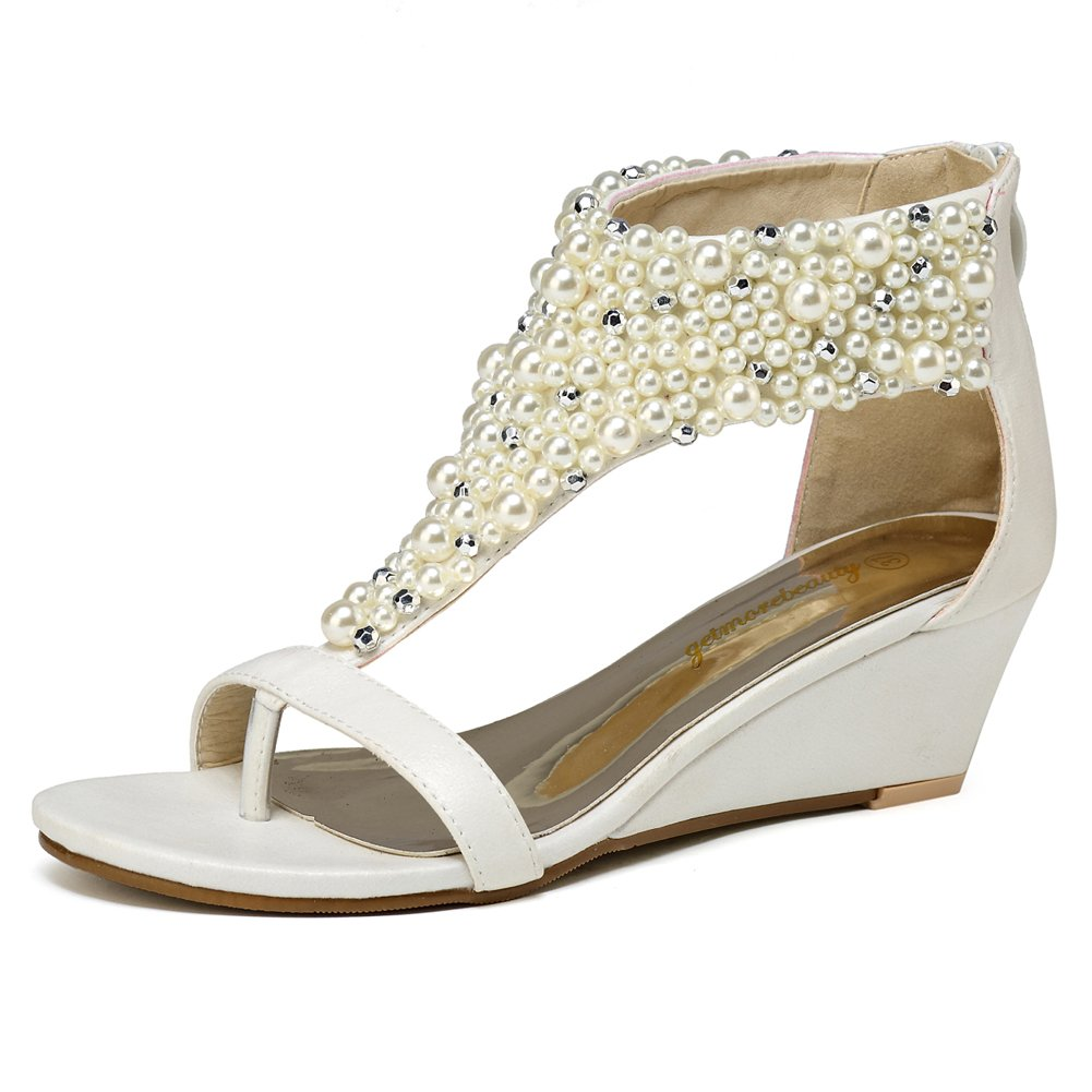 Women's Pearl Encrusted Open Toe White Strap Back Zip Wedge Sandals - DeluxeAdultCostumes.com