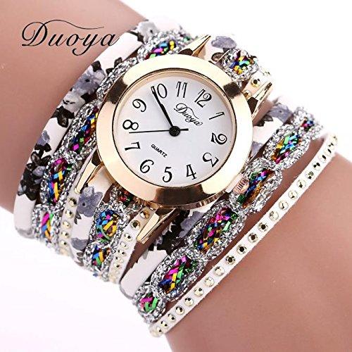 Mikey Store Women Quartz Watch Luxury Bracelet Gift Flower Gemstone Wristwatch (Gold)