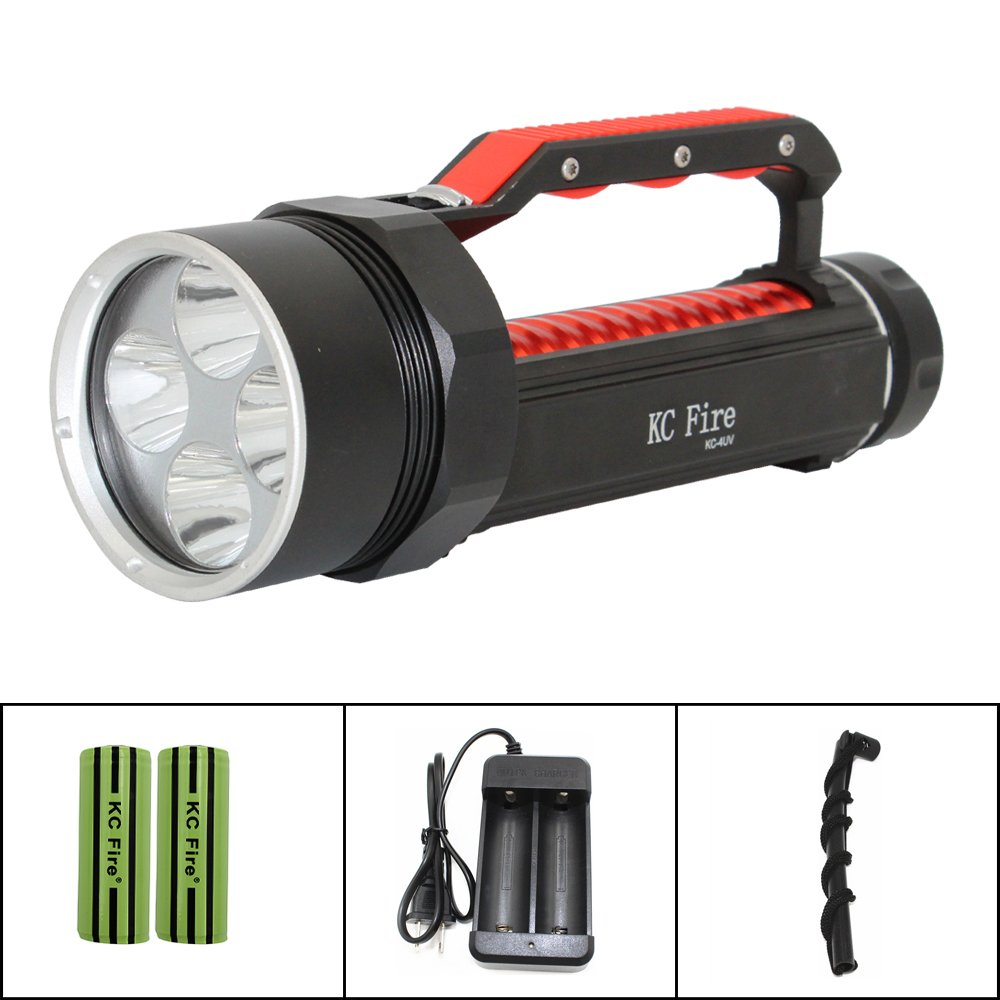Professional Diving Flashlight Blacklight , KC Fire Ultra Bright 4000 Lumen Underwater 100 Meter, 395nm UV Ultraviolet Light, Batteries and Charger Included by KC Fire (Image #6)