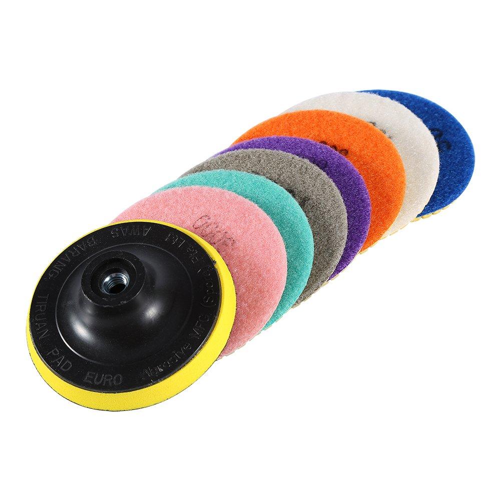 8pcs Kit Tampons de Polissage Disque de Polissage Granit Marbre Polissage Disque de Meulage 4 inch Hilitand