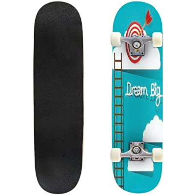 Classic Concave Skateboard Dream Big Concept Vector Illustration Longboard Maple Deck Extreme Sports and Outdoors Double Kick Trick for Beginners and Professionals : Sports & Outdoors