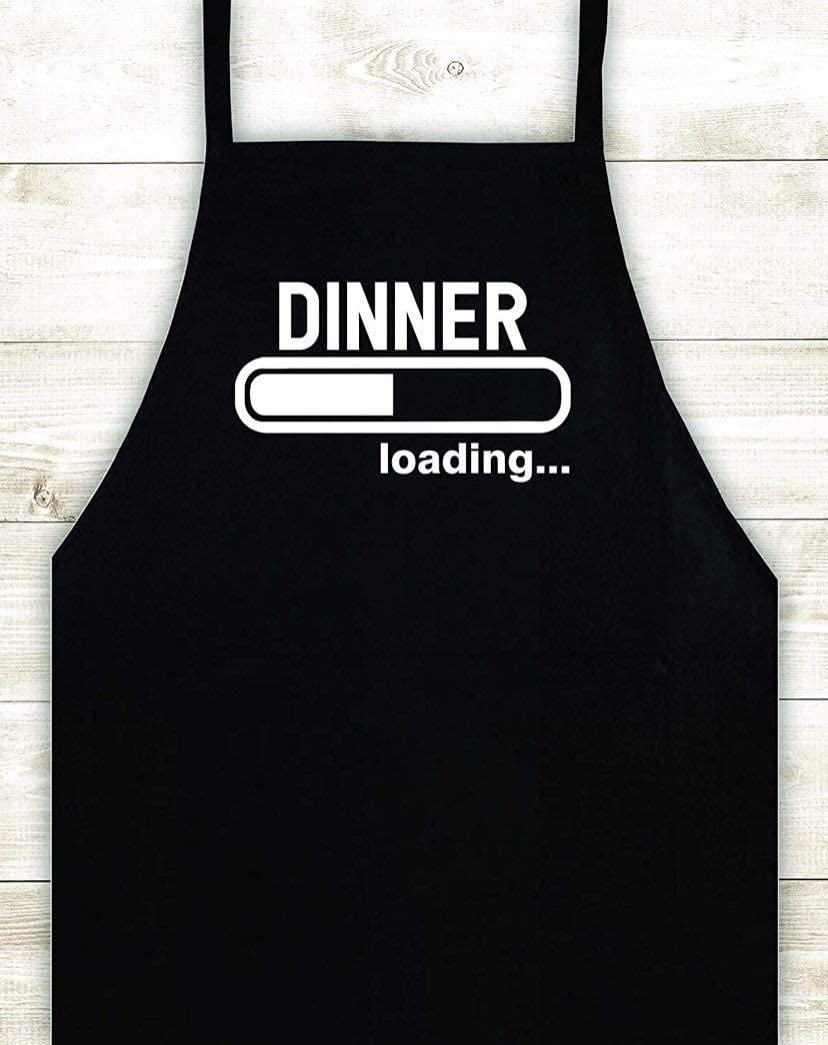 Dinner Loading Apron Custom Design Heat Press Vinyl Bbq Cook Grill Barbeque Chef Funny Gift Men Kitchen Fire Bake Food Girls Gamer Nerd