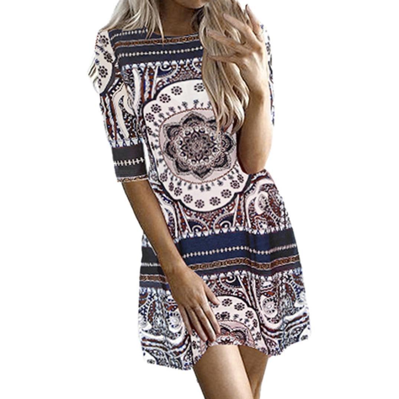 Spbamboo Clearance Sale! Womens Printing O-Neck Short Sleeve Easy Mini Dress