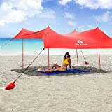 Red Suricata Family Beach Sunshade - Sun Shade Canopy | UPF50 UV Protection | Tent with 4 Lightweight Aluminum Poles, 4 Sandbag Anchors, 4 Pegs | Large & Portable Shelter Tarp (Red, Large)