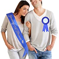 """Growing A Prince"" Sash & Dad to Be Pin Kit - Little Prince Baby Shower It's A Boy Royal Prince Gift (Royal Blue)"