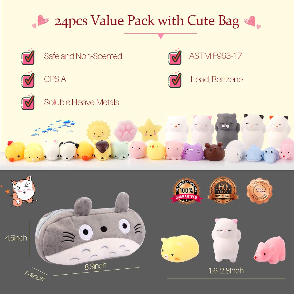 Gooidea Mochi Squishy Toys 丨 24pcs Mini Squishies Toy Gifts for Teen Girls and Boys丨 Kawaii Animals Squishies Easter Egg Fillers Easter Basket Stuffers Cat Panda Squeeze Toys Set with Cartoon Bag by Gooidea (Image #3)