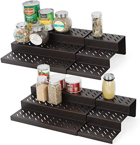NEX 3 Tier Expandable Spice Rack, Metal Cabinet Spice Rack Step Shelf Organizer, Set of 4 Bronze