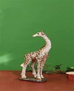 "StealStreet SS-UG-LKC-225, 11.5 Inch Standing Giraffe On Rock Statue with Gold Tone Print, 11.5"""