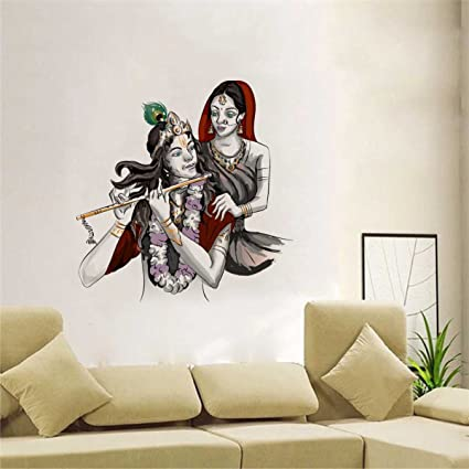 090a726719 Buy Rawpockets Lord Krishna with Radha' Wall Sticker (PVC Vinyl, 70 cm x  70cm) Online at Low Prices in India - Amazon.in