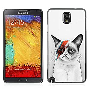 Colorful Printed Hard Protective Back Case Cover Shell Skin for Samsung Galaxy Note 3 III / N9000 / N9005 ( Awesome Bowie Grumpy Kitty Cat )