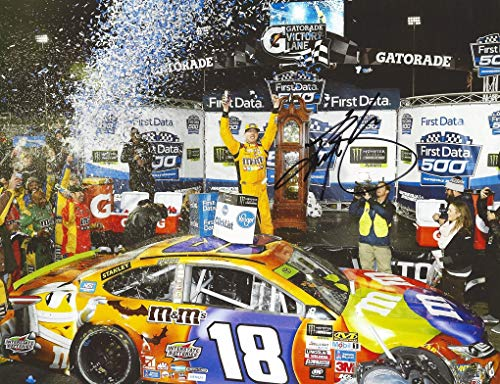 AUTOGRAPHED 2017 Kyle Busch #18 M&Ms Halloween MARTINSVILLE RACE WIN (Grandfather Clock Victory Lane) Monster Cup Playoffs Signed Picture NASCAR 9X11 Inch Glossy Photo with COA