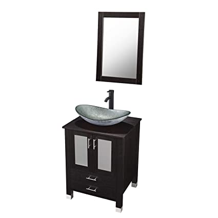 DOIT 24 inch Modern Bathroom Vanity and Sink Combo Stand Cabinet Bowl  Silver Green Glass Sink, Single Bathroom Vanity with Top and 2-Door  Cabinet,with ...