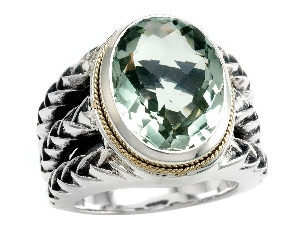 Balissima By Effy Collection Sterling Silver and 18k Yellow Gold Green Amethyst Ring Size 8