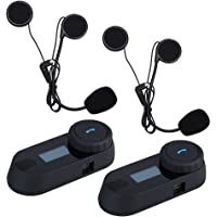 UPHIG TCOM-SC Intercom Moto Casque de Moto Interphone Écran LCD BT 800m Support Fonction FM et Musique play