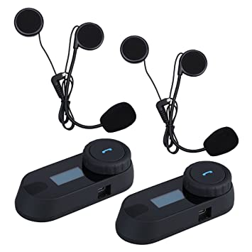 Uphig TCOM-SC Intercomunicador de Casco de Motocicleta Bluetooth Pantalla LCD Headset(Radio de