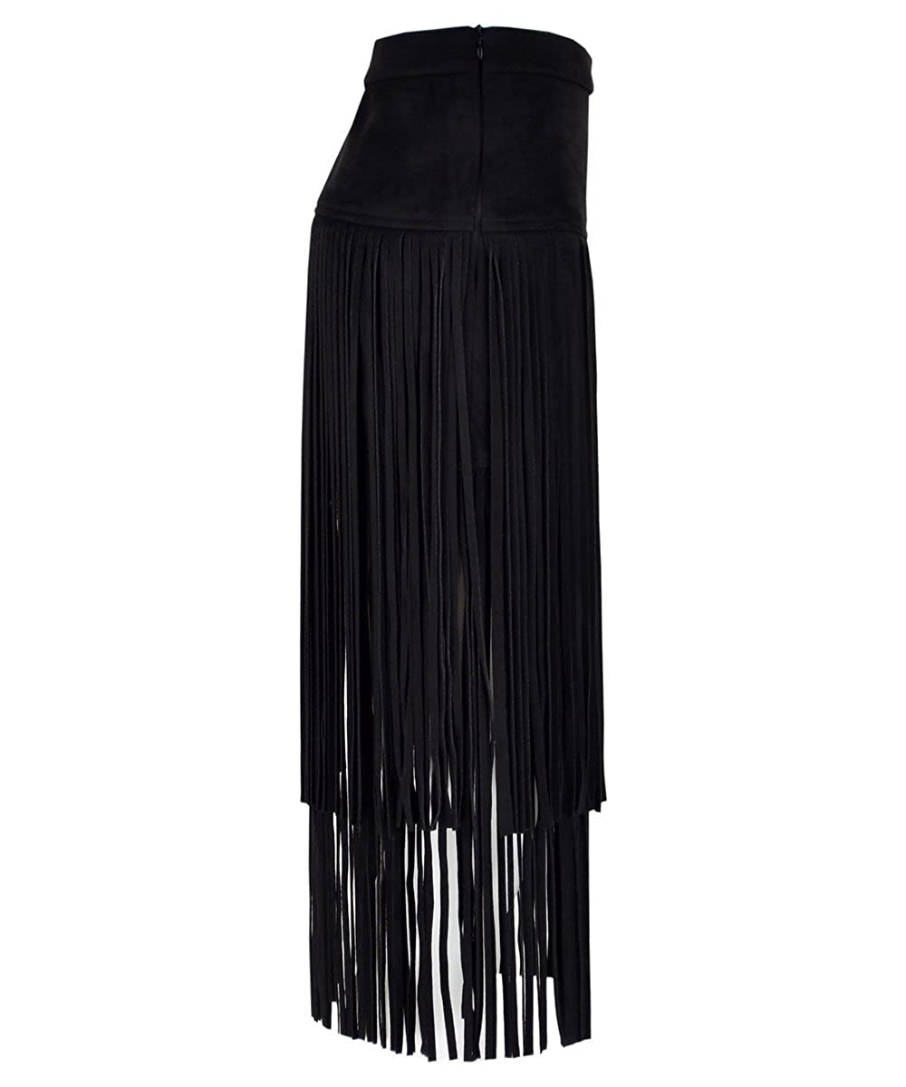 80e2f174f1 Get the Looks Tiered Fringe Suede Straight Midi Skirt at Amazon Women's  Clothing store:
